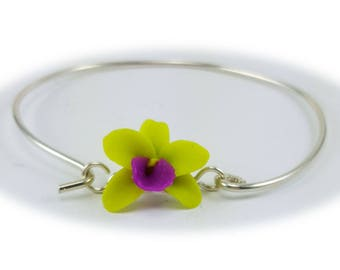 Orchid Bracelet Sterling Silver Bangle - Orchid Jewelry, More Colors