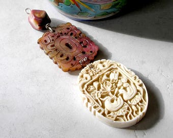 Feng Shui Pendant Love Wealth Gemstones Sterling Silver Metaphysical Healing Stones