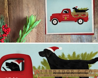 Black lab Labrador Retriever tree farm Christmas Holiday Card greeting cards by Stephen Fowler Christmas 12 pack