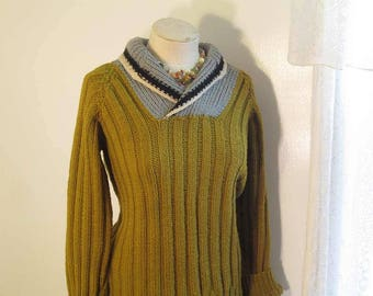Mustard 50s Sweater Vintage Shawl collar Pullover Handknit 50s Gold and Gray wool Sweater Winter wool pullover M L