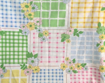 Vintage Twin Size Flat Sheet - Pink, Yellow, Green and Blue Patchwork Like Pattern with Flowers - Made by Cannon