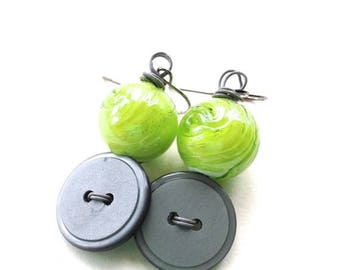 BUTTON JEWELRY SALE Lime Green and Gray Button and Bead Dangle Earrings