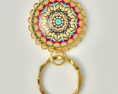 Gold Mandala Design  Magnetic Eyeglass Holder -  Gold Plated Pendant Holder and Ring