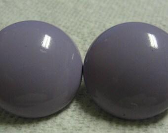 Vintage Lavender Plastic Round Clip Earrings