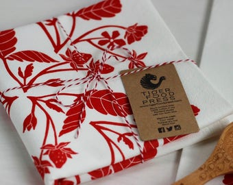 Red Strawberry Tea Towel, Berry Kitchen Decor, Block Printed Cotton Dish Cloth, Handmade Home, Linocut Print, Berries Pattern, Gift For Cook