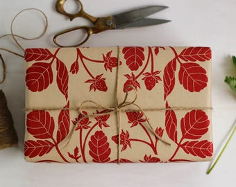Strawberry Pattern Gift Wrap, Hand Printed Kraft Wrapping Paper, Decorative Paper, Block Print, Scrap Book, Book Arts, Paper Crafts, Linocut
