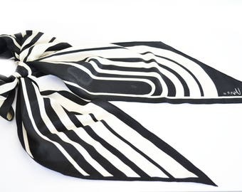 Vintage Vera scarf, Black and white geometric oblong scarf