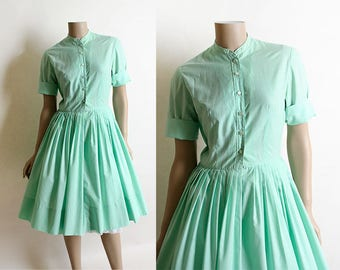 Vintage 1950s Dress - Mint Green Cotton Shirtwaist Dress - Square Button Up High Modest Neckline - Sea Foam Green - Small