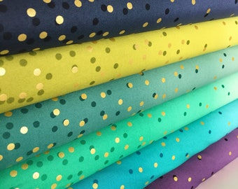 Ombre Confetti fabric by Vanessa Christenson, Gold Metallic Decor, Wedding fabric, Quilting, D Bundle of 6 fabrics, Choose the Cuts