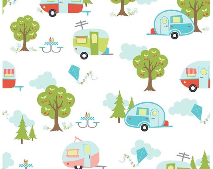 Glamping fabric, Fabricshoppe GlamperLicious fabric, Camping Camper Aqua Fabric, Camp Hike Vintage Camper Riley Blake, Glamper Main in White