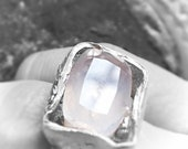 reserved adorable rose quartz  flash big ring fine eco silver boholuxe