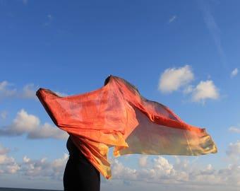 Dances with Fire ... hand painted silk dance veil