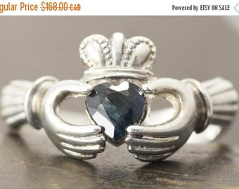 CLOSING SALE Natural sapphire claddagh ring in sterling silver - Sapphire ring - Size 7 ready to ship