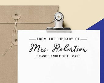 Custom LIBRARY STAMP with signature from USA, Rubber Stamp, Self Inking Stamp, Teacher Appreciation Gift, Book Lover, Book Worm, Library 13