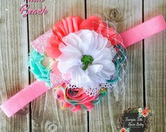 RTS Palm Beach Neon Pink, Aqua, and White Glamour Bloom Hair Flower clip headband county fail