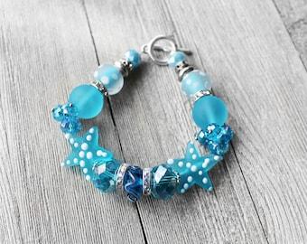 Beaded Bracelet, Turquoise, Starfish, Crystal Bead Bracelet, Mixed Bead Bracelet, Salt Water Starfish Beaded Bracelet