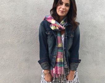 Purple and teal plaid scarf with gold lurex