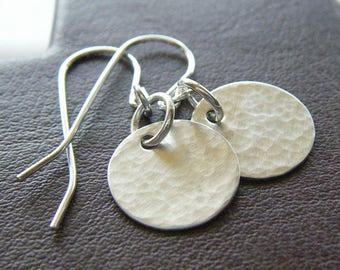 Everyday Earrings - Petite Sterling Silver Hammered Circle Earrings