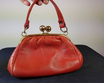 Vintage Red Leather Handbag Shoulder Bag Purse 1960's Mod Go Go