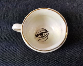 Vintage Fortune Teller All Seeing Eye Miniature Teacup Tea Cup with Quote on Side