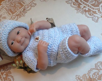 Crochet outfit for 14 inch Doll Berenguer La Newborn Blue White Outfit Boy Pony Horse