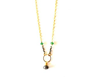 Modern Gold Chain Gemstone Necklace / 14k Gold Filled Simple Modern Chain Necklace with Black Rutilated Quartz and Green Onyx Gemstones