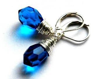 SIlver Blue Wire Wrap Earrings / Silver Blue Crystal Earrings / Silver Blue Bridal Earrings / Silver Wire Wrap Sapphire Blue Crystal Earring
