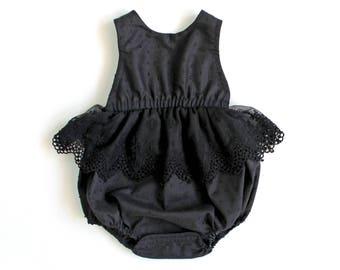 Little Black Romper, Black Romper, Baby Romper, Toddler Romper, Lace Romper, Swiss Dot Romper, Cotton Romper, Black Tie Wedding