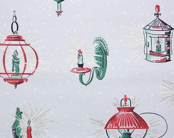 1950s Vintage Wallpaper by the Yard - Mid Century Christmas Wallpaper Red and Green Candles on Gray