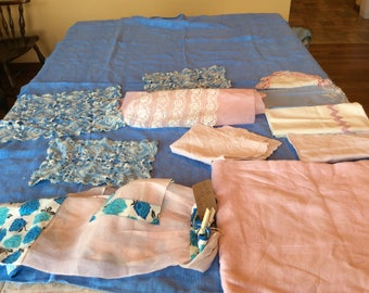 Vintage Linen Blue with Pink Bundle 12  Pieces 2 Tablecloths 4 Crochet Doiles 3 Towels  2 Aprons 1 Bun Cover - B122