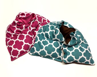 Rice heat wrap, set of TWO,  heat therapy, microwave heating pad, rice bag, heating pad, cold therapy, spa neck wrap, flax seed,aromatherapy