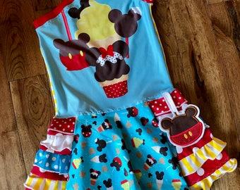 Custom disney parks treats food apples ruffle open shoulder dress boutique size 2t-12/14 vacation parks