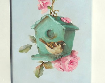 Sparrow Birdhouse  painting original art Little Sparrows Summer Home bird roses