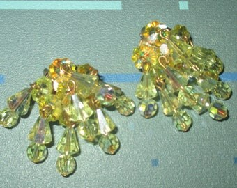 Vintage FAB Yellow Crystal Aurora Borealis Dangle Clip Earrings Signed Pearlcraft