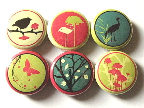 Fridge Magnets Birds Flowers 1 inch refrigerator crane tree mod retro pinbacks stocking stuffer party favor butterfly bird shower gift flair