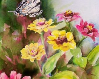 Limited Edition Print - Butterfly - Monarch - Floral Painting - Butterfly Garden - Zinnias - Painting of Butterfly - Wall Art - Monarch