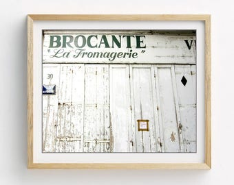 White Kitchen Wall Art - Rustic French Country Kitchen  Decor - Fixer Upper - Old Wood Door - French Wall Art 'Fromagerie'