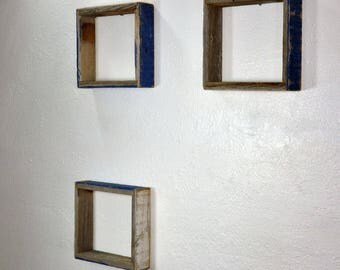 Shallow shadow boxes from repurposed wood, shabby chic wall shelves