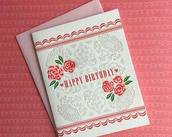 Rose Birthday Letterpress Card