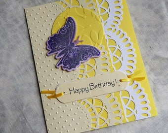 Handmade Birthday Card: butterfly, yellow, lace work, ooak, friend, mother, complete inside,complete outside, handmade, balsampondsdesign