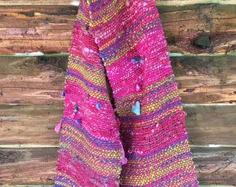 Hand woven scarf, wrap, shawl, boho chic, handmade from our own animals, weaving, one of a kind, made from handspun yarn, sheep wool