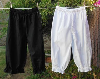 Ready now!  Girls BLACK Bloomers Basic sizes Small - Large Cotton No Lace