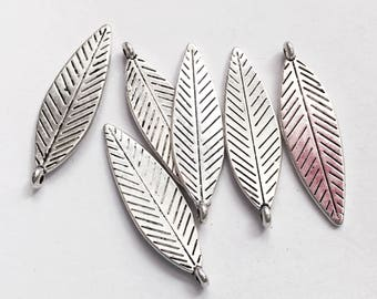16 pcs Antique silver double sided feather drop 30x10mm, alloy feather charm, Antique silver feather charm