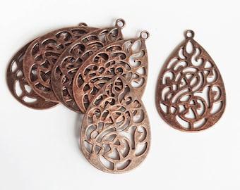 Bulk 150 pcs of Antique copper teardrop pendant 47x32mm, bulk red bronze alloy teardrop pendant