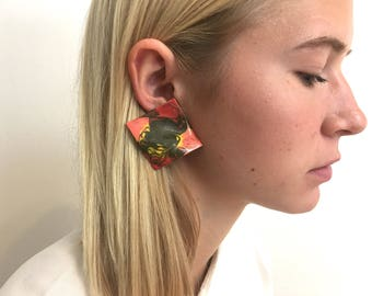 Extra Large Marble Paint Earrings | Abstract Metal Wave | OS | Statement