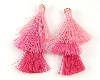 Ombre Pink Tassels Earring Findings, Three Tiered Pink Hot Pink Light to Dark Fringe Earring Dangles |LG8-11|2