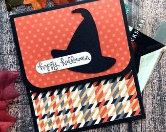 Halloween Gift Card Holder - Halloween Cards - Halloween Money Card -  Happy Halloween Witch Hat Halloween Gift Card Envelope