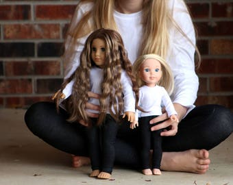 Matching Girl Doll Clothes fits American Girl Doll OR Wellie Wisher - Black Jeggings, 3m, 6m, 12m, 18m, 2T, 3T, 4T, 5, 6, 7, 8, 10, 12