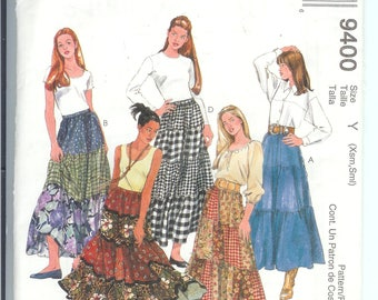 McCalls  Misses SKIRTS Sewing Pattern 9400 Size  Y   Xsm-Sm    UNCUT  Fashion Basics