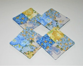 Woven Quilted Fabric Coasters (Set of 4)